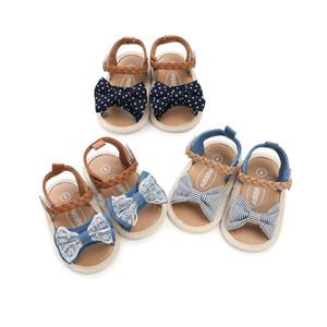 3 цвета новые поступления мягкое дно противоскользящие детские сандалии дети девушка кружева деним лоскутное лук детские первые ходунки обувь