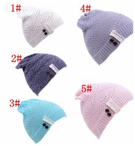 Fashion Women Knitted Beanie Hat Lace brim Button Warm Hats Beret Hedging Cap Winter Hat Warm Baggy Wool Crochet Hat
