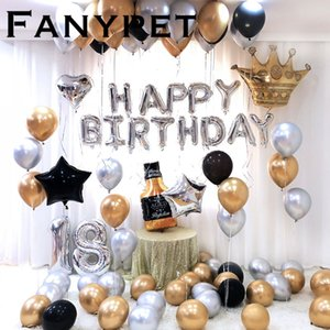 26pcs lot 32inch Happy 18 Birthday silver Foil number Balloons Metallic Globos 18th Anniversary brithday Party Decor Supplies