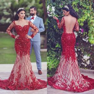 Saudi Arabia Glamorous 2018 Prom Dress Sheer Jewel Neck Sequins Beads Floral-Applique Evening Dress Luxury Mermaid Party Dress Robes De Soir