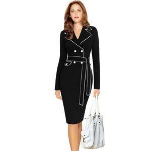 Frauen Frühling Herbst Winter Kleider langärmelige gekerbte formelle Kleidung zu arbeiten plus Größe 3xl 4xl Bleistift Kleid mit Gürtel Gewand