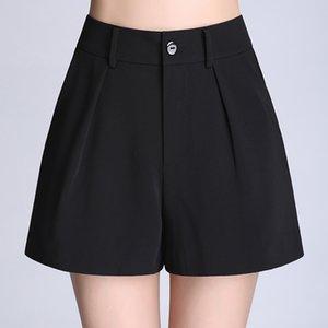 Soperwillton Cintura alta Pantalones anchos Pantalones cortos para mujer Verano Pantalones cortos sueltos Pantalones cortos EleFemale Mujeres S-4XL # BP0708