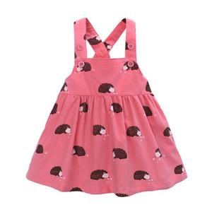 Outono Meninas Do Bebê Vestido De Criança Vestido de Verão Sem Mangas Cruz Cinta Corduroy Vestido Outfits Hedgehog 1-6years