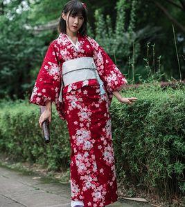Asya Standart Geleneksel Japon Çiçek Obi Obi ile kadın Pamuk Banyo Robe Yukata Kadın Vintage Cosplay Kostüm Akşam Elbise