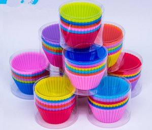 7cm Taza para hornear de silicona Moldes para hornear reutilizables Magdalena Cupcake Maker Muffin Cup candy colors Forma redonda