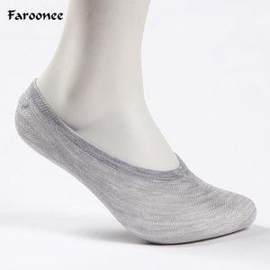 Naiveroo 5 paires hommes occasionnels en fibre de bambou bateau chaussettes antidérapantes en silicone invisibles cheville chaussettes style d'été mâle court S6371
