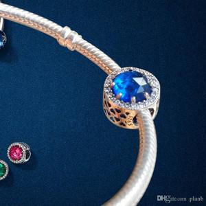 925 Sterling Silver Coração Azul Cristal Clear CZ Encantos Europeu Beads com caixa original Fit Pandora Cadeia de Cadeia Pulseira Charms Jóias DIY