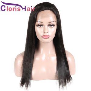 긴 스트레이트 인간의 머리 레이스 프론트 가발 150 % 밀도 Pre Plucked Natural Hairline 페루 레미 스트레이트 꼰 레이스 프론트 가발 Ombre DIY