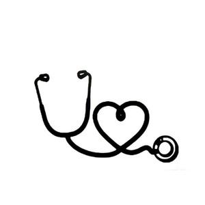 1 pc 16 * 11.3 cm o coração de um estetoscópio médico amor elegante adesivo de vinil reflexivo carro CA-105