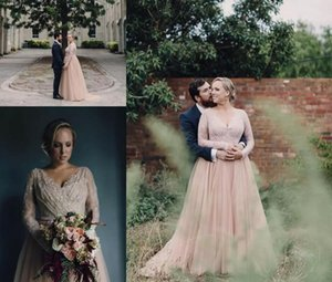 Blush Pink Lace Long Sleeves Country Wedding Dresses 2020 Sexy V Neck Beaded Appliques Plus Size Wedding Gowns Tulle Boho Beach Bridal Dress