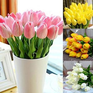 iPOPU 12 adet / grup Mini Lale Çiçekler Yapay Çiçekler Düğün Parti Dekor Ipek Çiçekler Ev Dekorasyon Parti Tedarikçi Flores