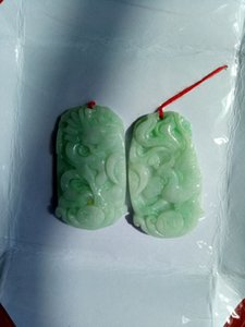 2PCS Certified Floral Green Natural Un pendente Jadeite Dragon Phoenix in giada