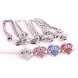 Gros Bracelet Femme Breloque Coeur MEMAW Cadeau Écrit Pour Grand-Mère Beaux Cristaux Chaîne De Liaison De Blé Alliage de Zinc Dropshipping
