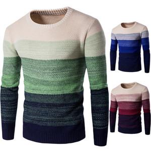 Mens Designer Strickpullover Casual Farbverlauf Männlich Herbst Winter Panelled Rundhalsausschnitt Langarm-Pullover