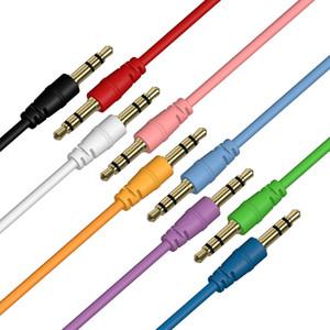 300 pçs / lote cabo aux macho para macho cabo de áudio cor car áudio 3 5mm jack plug para fone de ouvido mp3