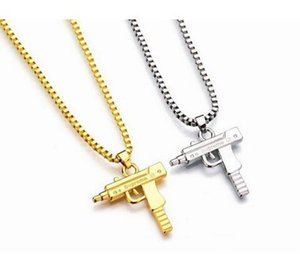 10pcs lot Uzi Gold Chain Hip Hop Long Pendant Necklace Men Women Fashion Brand Gun Shape Pistol Pendant Maxi Necklace HIPHOP Jewelry