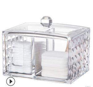 Acryl Kosmetik Aufbewahrungsbox Klar Make-Up Box Transparente Wattepads Container Mode Tragbare Schmuck Display Organizer