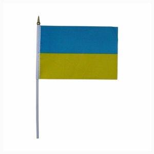 Großhandel Polyester Flaggen, 14 * 21 cm Ukraine Flagge mit Kunststoffstange, kleine Seidendruck Flaggen Fabrik direkt 100PCS / LOT