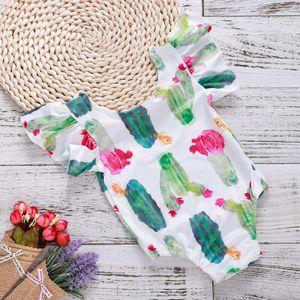 Neonata Body Cactus stampato in poliestere di cotone a maniche Flutter Tutina neonato 1 ° compleanno Outfits vestiti infantili