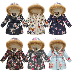Baby girls Thickening Floral Outwear butterfly Flower Leopard Print Down Coat Kids Winter Clothes Boutique Hooded Jacket 36 colors C5408