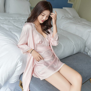 Pajamas Women Sexy Short Sleeve Sling Sleeping Skirt Summer ice silk dressing gown two sets of silk home service 8 color