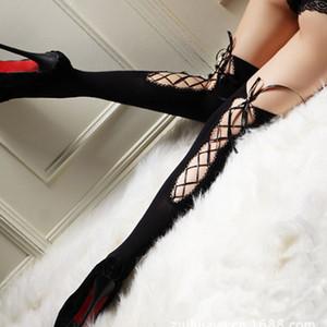 Duolafine женский сексуальный чулок женщины повязку обратно полые тонкие колготки дамы эротическое белье клуб твердые высокие чулки FN-283