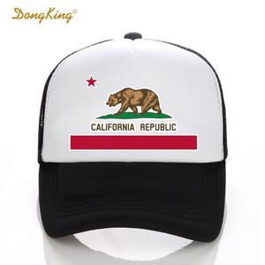 DongKing Мода Дальнобойщик Шляпа Флаг Калифорнии Snapback Сетки Крышка Ретро Калифорния Любовь Старинные Калифорния Республика Медведь Топ D18110601