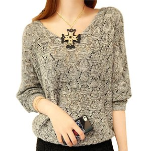 Sexy Herbst und Winter Frauen Hollow Woman Sweater Pullover Langarm Lose Knit Tiefem V-ausschnitt Top Solide Weiblichen Ausschnitt Pullover