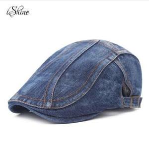 Más nuevos hombres y mujeres de la moda que empalman los sombreros de Jean Advance del paño grueso y suave casuales casquillos para femme Autumn Winter Beret ajustable