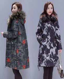 겨울 새로운 모피 칼라 면화 여성의 긴 두꺼운 면화 자켓 슬림 코트 Outerwea Parkas