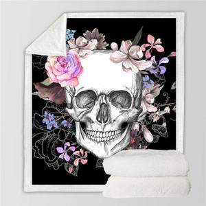 Nuovo design biancheria da letto presa zucchero cranio coperta per letti floreale rose sottile trapunta copriletto alla moda 130x150 cm coperta in pile coperta