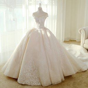 Real Picture Arabic Wedding Dress 2018 Jewel Cap Sleeve Lace Applique Chapel Train Brial Dresses robe de mariée casamento abiti da sposa