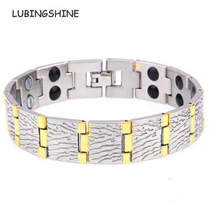 LUBINGSHINE Rame Health Care Bracelet Bangle Cuff Magnetic Mens Bracciali Jewelry Creative Bark Texture Pulsera de los hombres