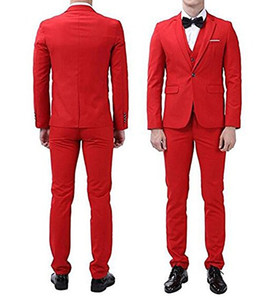 Сшитые на заказ красные мужчины костюм из 3 частей Свадебные смокинги Смокинги для жениха с вырезом на одной кнопке Центральная вентиляционная куртка для мужчин (куртка + брюки + галстук + жилет) 506