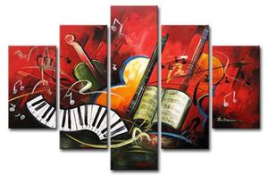 Gran pieza hecha a mano de 5 piezas lienzo abstracto música pinturas art deco pinturas al óleo hermoso arte abstracto lienzo pintura dormitorio decoración