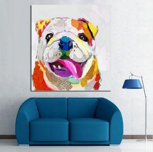 Alta calidad pintada a mano HD Print Modern Abstract Animal Art Lovely Dog pintura al óleo sobre lienzo Wall Art Home Deco a169