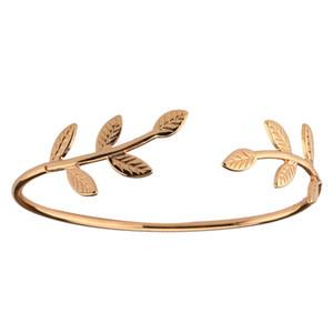 Glückliche Frauen-Mädchen-Kristallblatt Charme-Armband-Armband-Silber-Goldarmband 1pc