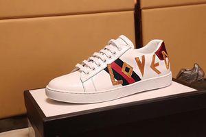 Personnalité féminine homme designer ACE chaussures bande rouge verte Véritable cuir avec lettre aimée 3D fleur pas cher baskets pour vente taille 34-46