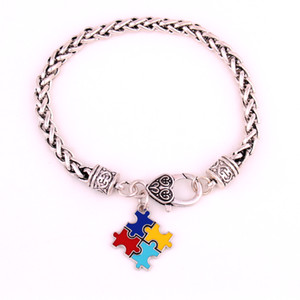 Fashion Autism Awareness Puzzle Jigsaw Classic Silver Plated Square Enamel Charm Lobster Claw Bracelet Trade Assurance Service