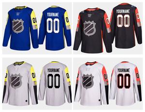 Geringster Preis ! Personifizierte 2018 All-Star- Spiel-Jerseys-Weiß-Blau-Schwarz-Grau-Gewohnheit nähte irgendeine Namenszahl-Hockey-Jersey-Stickerei-Logos