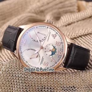 Nuovo Portugieser quadrante argentato in oro rosa DayDate Moon Phase Funzioni complessive Mens automatico Orologio cinturino in pelle nera Retro orologi 272a1