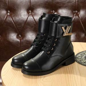 Top Find Similar 19 Diseñador de zapatos de mujer Marca Botas para mujer Marca Moda Diseñador de lujo Mujer negro Botas de cuero de tacón medio