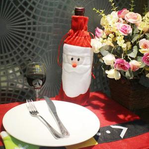 Conjunto de vino de Navidad Bolsas de tapa de la botella Decoración Hogar Parte paño + paño de extracción, lana Santa Navidad Navidad Decoración de Navidad Santa Claus