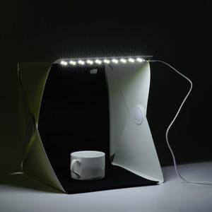 Più nuovo 22 * 24 * 24cm Mini SIze pieghevole LED Light Studio Photo Box portatile Studio fotografico Photo Box Photo Studio accessori