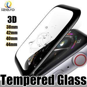 Para Apple Seguir 4 3D completa cobertura de vidrio templado protector de la pantalla de 44 mm 40 mm 42 mm 38 mm resistente a los arañazos de la burbuja-libre para el iWatch Serie 4 3 izeso