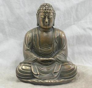 Spedizione gratuita Cinese Folk Culture Handmade bronzo ottone Statua Sakyamuni Buddha Sculpture