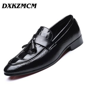 DXKZMCM 2018 Men Dress Shoes Quality Men Oxford Shoes Lace-up  Formal Leather Wedding