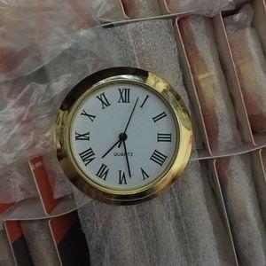 1 7/16 بوصة ساعة إدراج من البلاستيك الذهب مع الاتصال الهاتفي الروماني يصلح على مدار الساعة PC21S الحركة