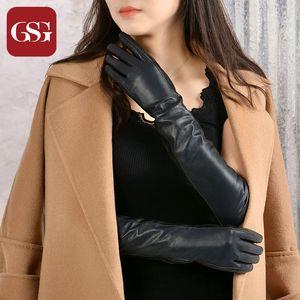 GSG  Women Long Leather Gloves Fashion Sheepskin Gloves Ladies Winter Warm Soft Leather Full Finger Evening