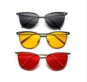 Peekaboo di alta qualità occhio di gatto occhiali da sole rossi donne struttura in metallo occhiali da sole obiettivo chiaro per le donne UV400